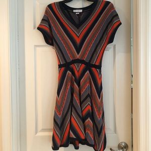 Jessica Simpson Orange Blue Woven Dress
